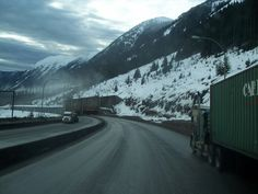 Snow tunnels on Coquihalla highway