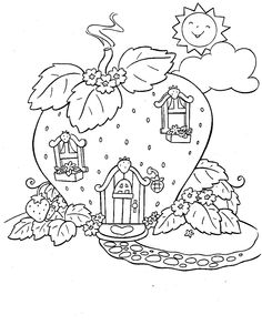 Pictures The House Of Strawberry Shortcake Coloring For Kids