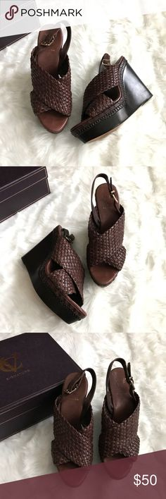 """Vince Camuto VC VI-Lenny Woven Leather Wedges 9.5M Vince Camuto VC VI-Lenny Woven Wedge  Platform Sandal Size 9.5 M  -  Nut Sauvage Color -  Leather Upper and Sole -  Heel Height 5""""  Thanks for visiting! ❤️ Vince Camuto Shoes Platforms"""