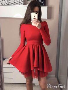 fa0079b592 Long Sleeve Black Homecoming Dresses Mini Short Red Prom Dress ARD1733