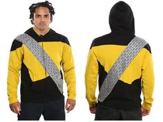NEW Star Trek Next Generation Worf Hoodie Medium Yellow Black Jacket Think Geek