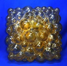 Mid Century German Square Bubble Glass Flushmount Ceiling Lamp Wall Lamp
