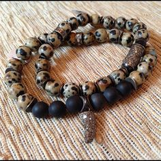 Dalmatian Jasper Bracelets with Diamonds and silver Dakini bead. Black beads are onyx. Photo by dakinidesigns