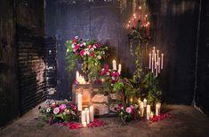 moody romance wedding ceremony backdrop
