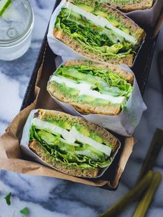 This sandwich is packed with basil, tarragon, and chives, not to mention mozzarella cheese, lettuce, and green zebra tomatoes. Get the recipe at The Bonjon Gourmet.