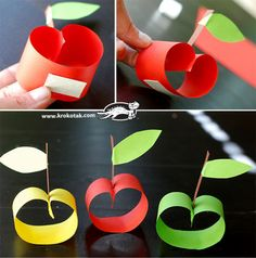 Simple Apple Craft Nature Crafts, Fun Crafts, Diy And Crafts, Arts And Crafts, Paper Crafts, Kindergarten Crafts, Preschool Art, Rosh Hashana Decorations, Diy For Kids