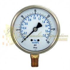 "Part #RV132A3N303KG Series 7211, 1/4"" NPT Bottom Connection, 2 1/2"" Gauge Size, 0-30 PSI, Liquid Filled Gauge."