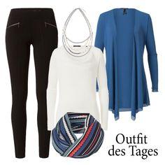 Wir machen blau - und kombinieren unseren leichten Jersey-Cardigan in der Trendfarbe Classic Blue ganz lässig zur schwarzen Treggins und zum weißen Chiffon-Shirt. Perlenkette und Loop-Schal dazu - und fertig ist das neue Lieblings-Outfit für Büro und Freizeit! #outfitoftheday