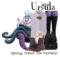"""Ursula"" by tallybow ❤ liked on Polyvore featuring Ted Baker, Uniqlo, Sherpani, Ryan Storer, Dr. Martens, Disney and Color My Life"