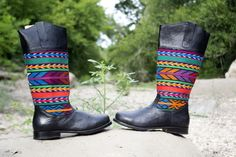 Teysha Leather and Textile Riding Boots - Handcrafted in Guatemala, featuring handmade textiles. AND custom fit to your feet and calf! www.teysha.is