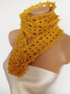 hand crocheted infinity scarf lariat necklace with by smilingpoet, $21.90