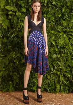 Ultramarine Silk Crepe Blossom Print Letitia Dress with Ric Rac Embroidery and Cornelia Alter Nubuck Wooden Wedge Sandals. Spring 2015 Look 29