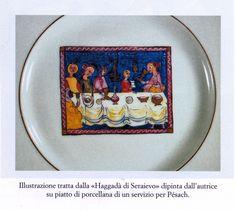 """Cibi di casa: Gli scacchi, un piatto di famiglia per Pésach a Ferrara.  Dal libro di Jenny Bassani Liscia  """"la storia passa per la cucina"""",  il piatto dipinto dall'autrice riprende l'Haggadà di Sarajevo."""