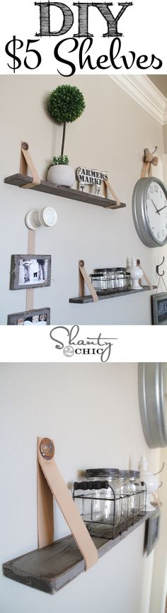 Easy $5 shelves with leather straps! This is so cool! Love! - This is a pretty easy shelving idea. I think it will cost a little more than $5, but not much!