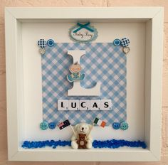 New baby gift baby boy gift personalised christening gift personalised christening gifts baby christening gifts baptism gifts name frame baby boy gifts box frames baby names new babies teddy bear negle