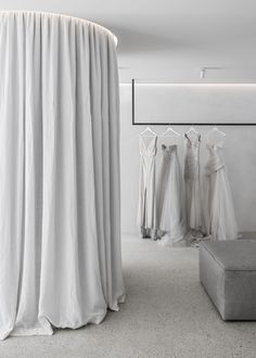 "White plaster walls concrete floors and grey marble fixtures helped Australian practice Adam Kane Architects avoid an ""overly feminine"" aesthetic inside the Mariana Hardwick bridal boutique in Melbourne. Studio Interior, Retail Interior, Shop Interior Design, Retail Design, Store Design, Bridal Boutique Interior, Boutique Decor, Boutique Design, Mariana Hardwick"