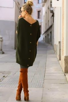 Back Button Dark Green Sweater
