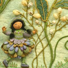 Mary, Mary, quite contrary ~ Needlework art by Salley Mavor. Illustration from 'Pocketful of Posies: A Treasury of Nursery Rhymes.