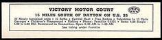 Victory Motor Court Ad Dayton Ohio Fishing Bath Radio TV 1954 Roadside Ad Travel