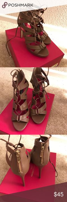 "Charles Jourdan Heels Charles Jourdan Paris - ""Jade Lace Sandal"". Nude sandal heels w/ lace up front & back zipper closure. Gladiator style Sandal heel. Heel is stiletto style about 3"". Red sole. Gently used, like new. Kept In original box. ❌⭕️❌⭕️ Charles Jourdan Shoes Heels"