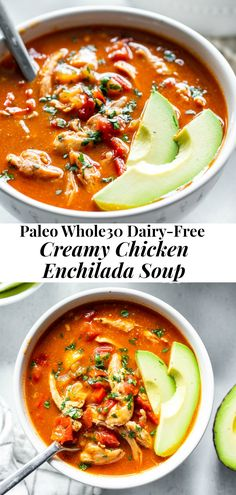 Eating Diet Whole 30 This creamy paleo chicken enchilada soup is packed with flavor, healthy, and so hearty and filling. It comes together in just 30 minutes and is perfect for weeknights. compliant, dairy-free, so comforting! Recetas Whole30, Whole30 Soup Recipes, Paleo Soup, Healthy Soup Recipes, Cooking Recipes, Healthy Hearty Soup, Healthy Chicken Soup, Paleo Chicken Recipes, Lunch Recipes