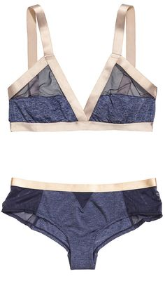 The athletic girl who's craving some sizzle will flip for H&M's sporty triangle bra ($18) and matching brief ($10). The shape means you could basically wear it to yoga class, while the sheer panels and silky ribbons keep it date-night-ready, too.