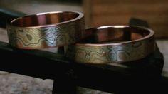 Mokume gane wedding band set tri gold 18 by DIYHandmadeRings Wedding Band Sets, Handmade Rings, 18k Rose Gold, Cuff Bracelets, Silver Rings, White Gold, Engagement Rings, Unique Jewelry, Etsy
