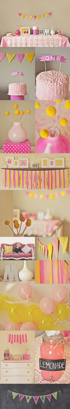pink and yellow - beccas strawberry lemonade party! We have a big chalkboard to use too, love the idea of using it to decorate :)