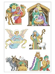 Capture the Christmas spirit in these 6 cross-stitched ornaments!   The story of Jesus' birth is beautifully depicted in these 6 ornaments. You can hang them as a set, with the angel flying above the Holy family, the manger and the 3 Wise Men bearing...