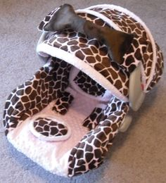 Infant car seat cover  Pink and Brown Giraffe by BabyPizzazz, $79.99