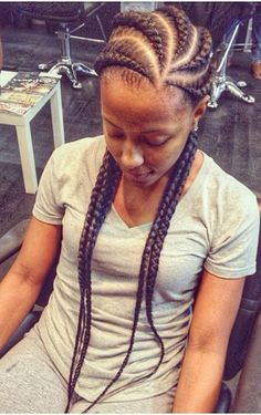 Ghana braids. Undetectable braids. Cornrows. Braids. Chunky braids. Big braids. Large braids. Natural hair styles. Protective styles.