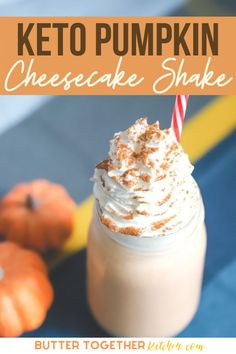 This thick and creamy keto pumpkin cheesecake shake from Butter Together Kitchen will become your new fall favorite drink! It's smooth, creamy, and delicious! Get this recipe and make this delicious shake today! #recipe #ketorecipe #ketodrinks #drinkrecipes #pumpkinrecipes