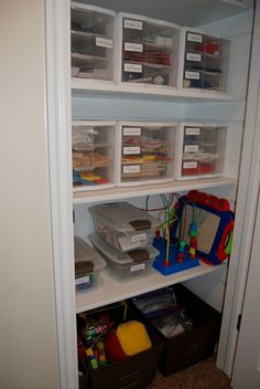 Game Closet Organizing // I especially love the index card holders for card games!