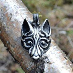 Tin Viking Wolf Head Pendant Jewel Celtic Pagan by WulflundJewelry, Kč235.00