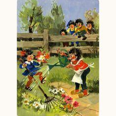 AK Postkarte Mecki Igel DDR / Igel bei der Gartenarbeit