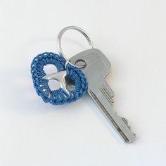 blue pop tab heart keychain