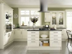 Our Edge Grigio Tiles Look Lovely In A Cream Kitchen with Black And Cream Kitchen, Cream Kitchen Units, Cream Gloss Kitchen, Olive Green Kitchen, Green Kitchen Walls, Cream Kitchens, Kitchen Craft Cabinets, Black Kitchen Countertops, Cream Kitchen Cabinets