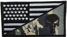 Patch Squad Men's Tactical Velcro USA Flag / Punisher Skull Military Morale Patch