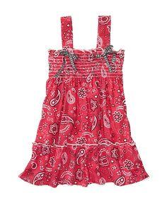country baby smocked bandana print dress