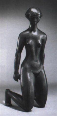 black - woman - Kneeling woman , 1956 - figurative sculpture - Karl Heinz Krause