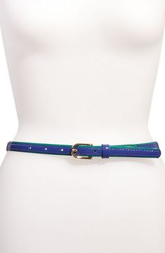 Vince Camuto Logo Crest Color Piping Leather Belt
