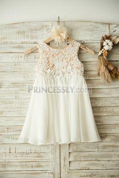 cc68386c8c6 Boho Beach Ivory Lace Chiffon Wedding Flower Girl Dress