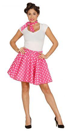 Falda y pañuelo rosa puntos blancos años 50 mujer 095758b6cda