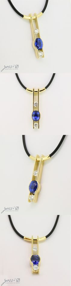 18ct yellow gold pendant set with Sapphire and Diamond . This modern pendant was designed and handmade for a nice lady who brought in a ring that she no longer had use for. This 18ct yellow gold pendant features a 5.00ct oval Ceylon Sapphire & 2 x 0.40ct. brilliant cut Diamonds, tension set in a vertical design that will sit effortlessly around the neck with a black rubber cord.