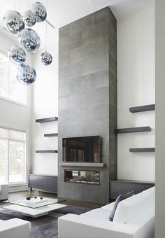 Tall Concrete Fireplace Surround in Toronto