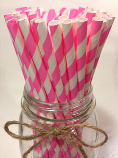 25 bubble gum pink striped paper straws // Baby by TamsCorner, $6.19