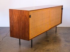 Early Florence Knoll Woven Sliding Door Credenza
