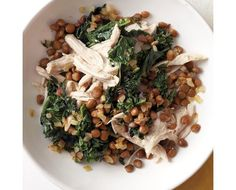 Shredded Chicken with Kale and Lentils Recipe | Food Recipes - Yahoo! Shine. Take out lemon and thyme for low histamine.