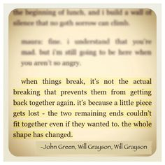 Will Grayson, Will Grayson - My most recently read book. So good.
