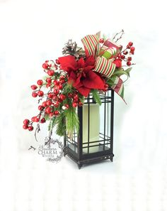Christmas Lantern Swag Red Green w Snow Topped Berries Poinsettia Pine Cones, Christmas Table, Christmas Mantle Decor, Xmas Lantern Swags
